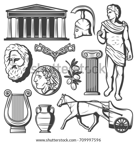 vintage ancient greece elements ...