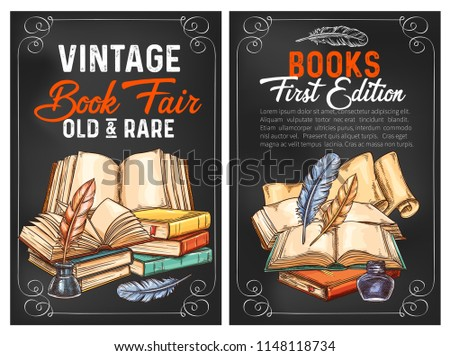 Vintage and rare books fair sketch posters for literature edition or advertisement. Vector design of old rare books and writer ink with quill pens for bookshop or rarity bookstore
