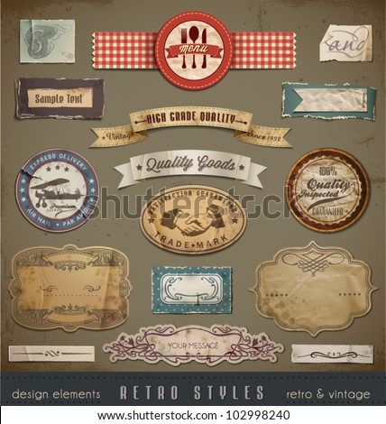 Vintage And Retro Design Elements. Useful design elements: old papers, labels in retro and vintage style. Vector Illustration. - stock vector