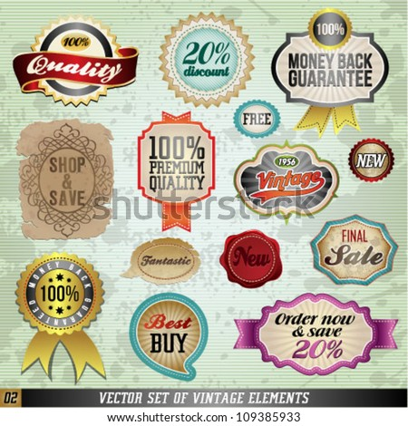 Vintage And Retro Vector Design Elements. Old papers, labels in retro and vintage style. Graphic Design Editable For Your Design.
