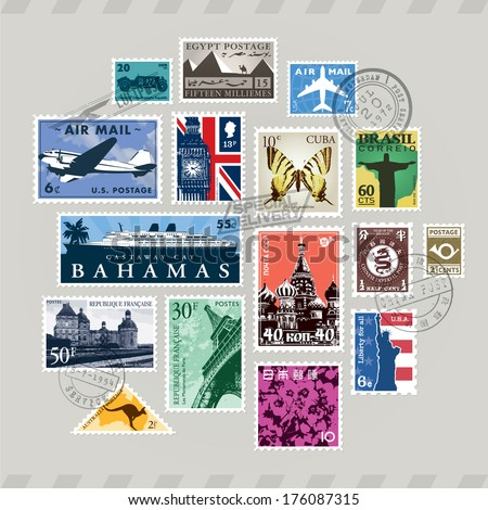 Vintage and retro vector post stamps set