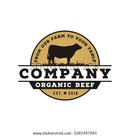 Vintage Angus Cattle Beef logo design inspiration