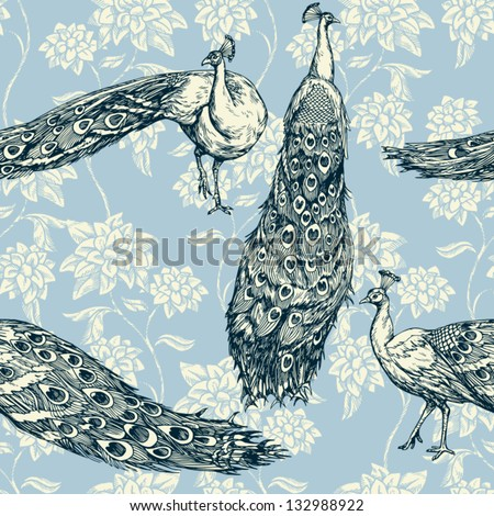 Vintage antique background, fashion seamless pattern with birds, white peacocks on blue wallpaper, creative fabric, wrapping with graphic floral ornaments - summer and spring theme for design