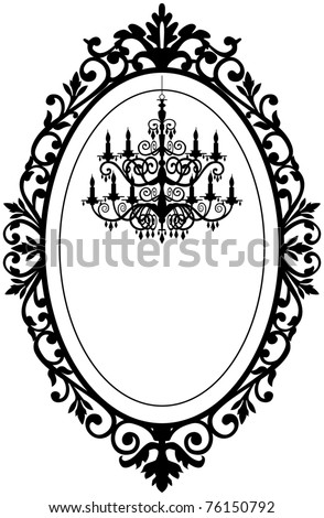 Vintage, antique picture frame with baroque chandelier black silhouette, full scalable vector graphic, change the colors as you like.