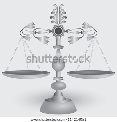 Vintage apothecary scales, symbol of jurisprudence. Vector illustration.