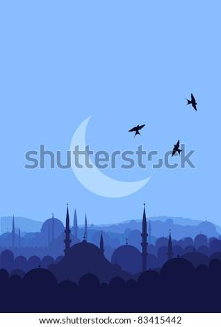 Vintage arabic city landscape illustration
