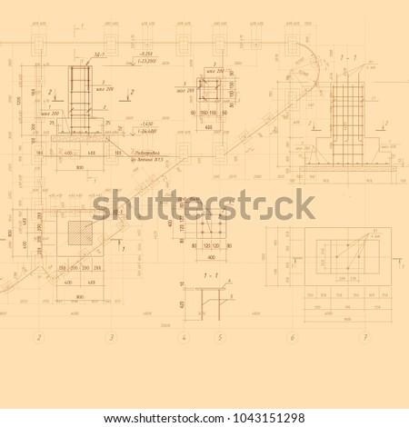 vintage architectural blueprint....