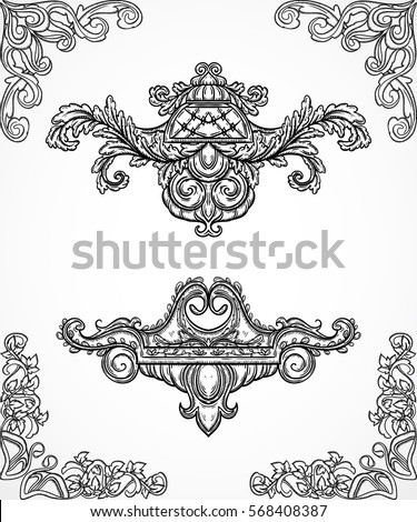 Vintage architectural details design elements. Antique baroque classic style border and cartouche in engraving style. Hand drawn vector illustration