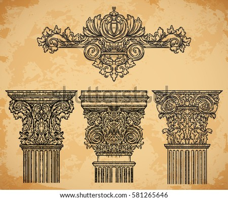 Royalty free antique and baroque classic style 307282748 for Classic columns paper