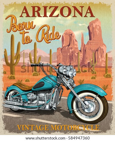Vintage Arizona motorcycle poster.