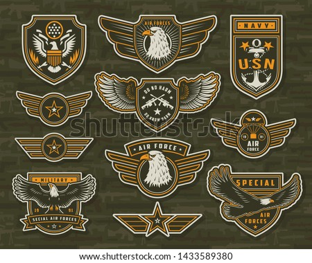 Vintage armed forces insignias and badges of different shapes with eagles stars anchor crossed sniper rifles on military weapons background isolated vector illustration