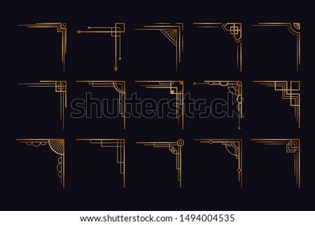Vintage art deco corner set. Vector golden geometric template in style of 1920s, artdeco corners for borders and frames