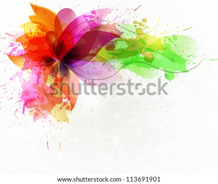 vintage artistic Background with floral element and colorful blots. - stock vector