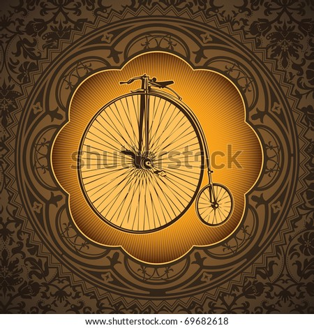 Vintage artistic background with old bicycle. Vector illustration.
