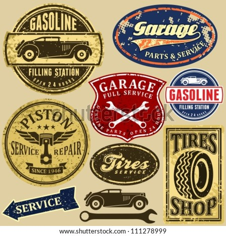 vintage automotive labels and...