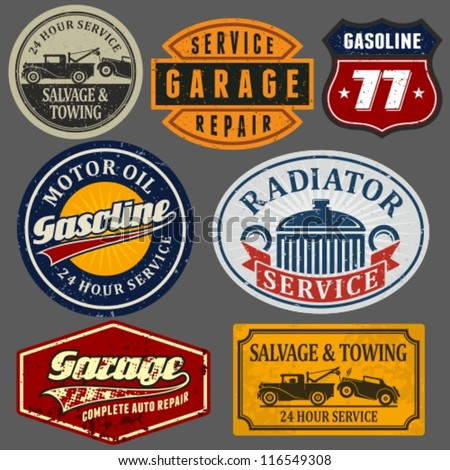 vintage automotive labels and