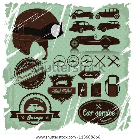 Vintage automotive labels and signs set with one detailed retro helmet.