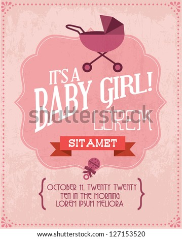 vintage baby girl invitation card template vector/illustration