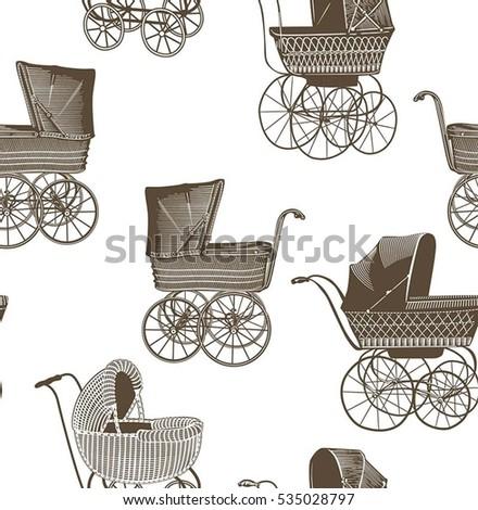 vintage baby strollers seamless