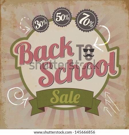 Vintage back to school sale brochure vector illustration - stock vector