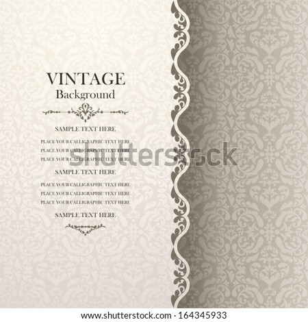 Vintage background, antique greeting card, invitation with lace and floral ornaments, beautiful, luxury postcard, old paper, ornate page cover, ornamental pattern template for design