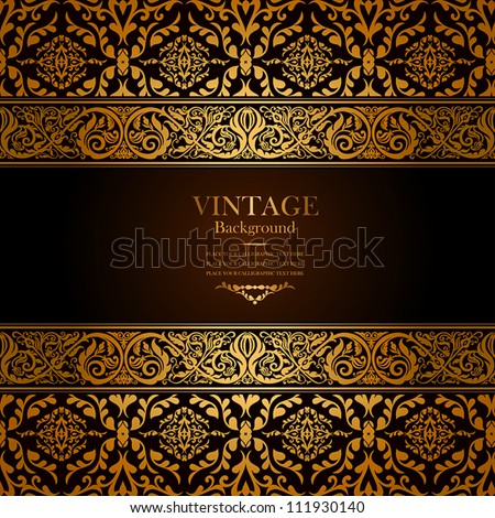 Vintage background, antique, victorian gold ornament, baroque frame, beautiful old paper, card, ornate cover page, label; floral luxury ornamental pattern template for design - stock vector