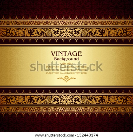 Vintage background antique victorian gold ornament baroque frame beautiful old paper royal card ornate cover page label floral luxury ornamental pattern template for design