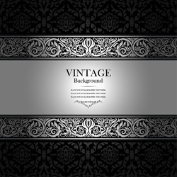 Vintage background, antique, victorian silver ornament, black and white frame, beautiful old paper, card, ornate cover page, label; floral luxury ornamental pattern template for design