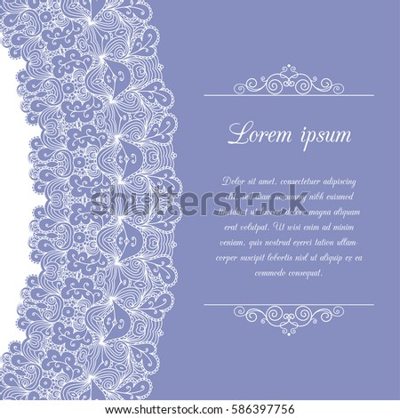 vintage background ornamental lace border greeting card or