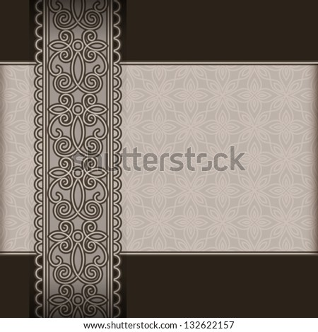 Vintage background, ornate lace ribbon, vector seamless border on black, EPS10