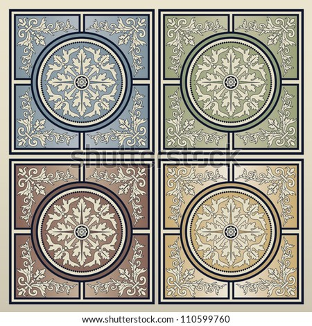 Vintage background seamless tiles in four different colors.