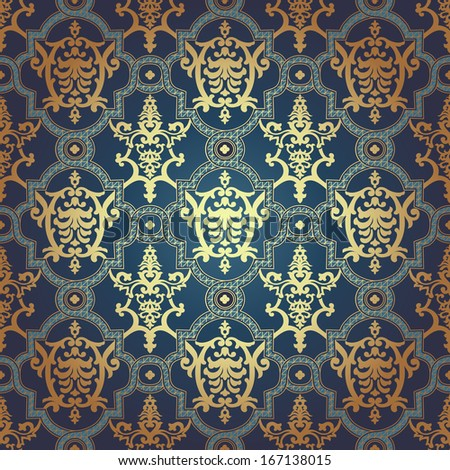 Vintage Background Traditional Ottoman motifs.Decorative colorful seamless pattern in mosaic ethnic style.Vector illustration