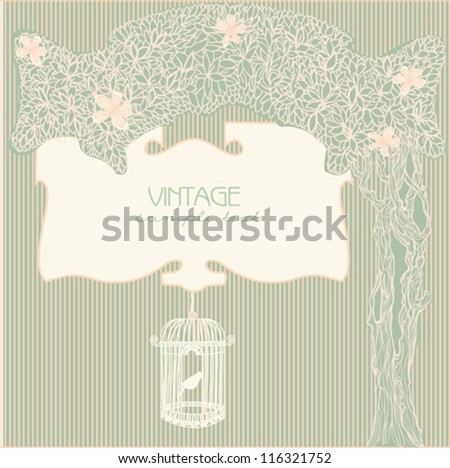 vintage background with bird cage