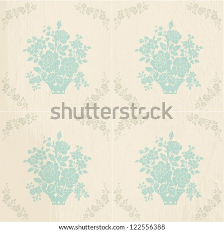 Vintage background with blue roses