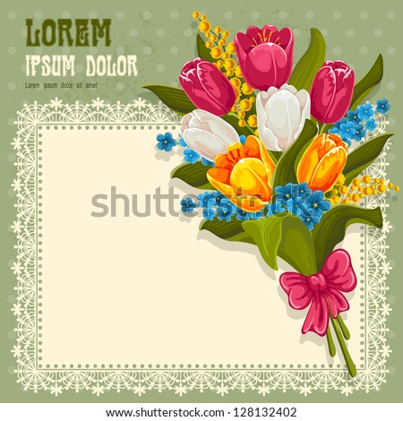 Vintage background with bouquet of spring flowers. Tulips, forget-me and mimosas.