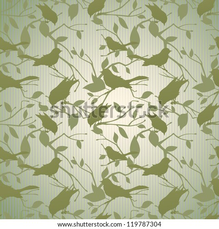 Vintage background with branches and birds
