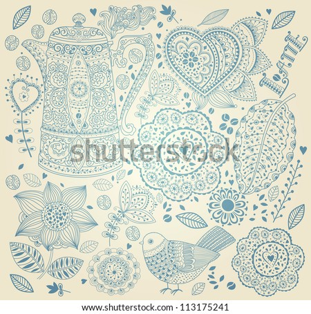 Vintage  background with coffee pattern