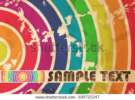 Vintage  background with colorful circles. Vector illustration. Eps 10.