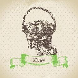 Vintage background with Easter bascket. Hand drawn illustration