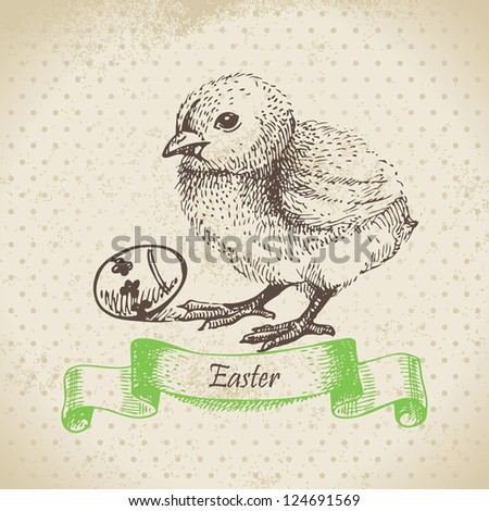 Vintage background with Easter chick. Hand drawn illustration