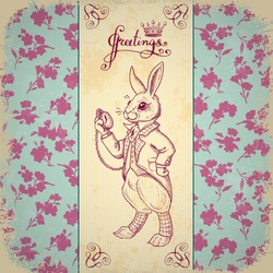 Vintage background with Easter rabbit. Hand drawn illustration. Rabbit in the English suit on a background of floral ornament. Bunny in clothes.