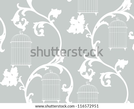 vintage background with floral ornament and bird cages