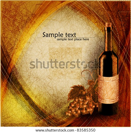 Vintage background with grape and bottle of wine, vector