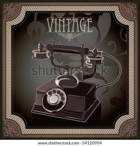 Vintage background with old telephone. Vector illustration.