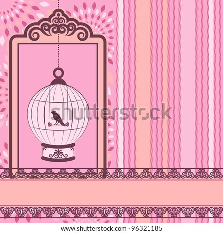 Vintage background with ornamental birdcages and bird