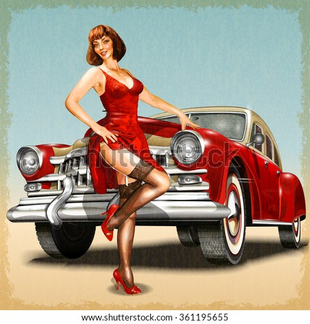 vintage background with pin up