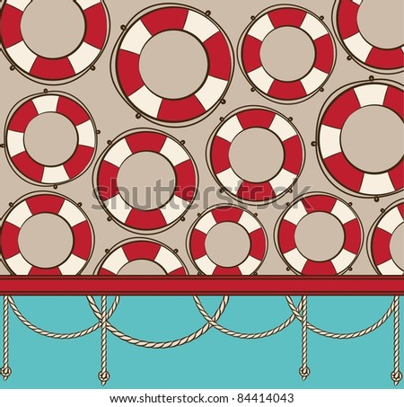 Vintage background with Red Life Buoy. Vector