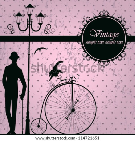 Vintage background with retro bicycle