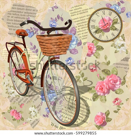 Vintage background with roses,birds and  bicycle.