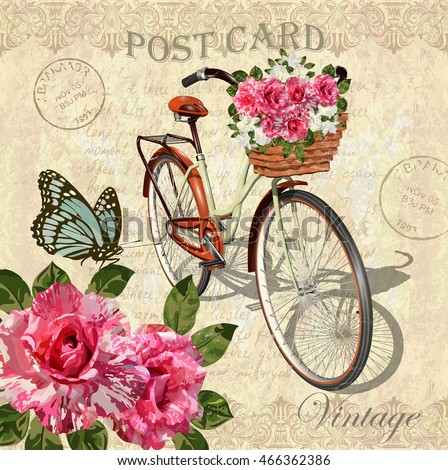 vintage background with roses...